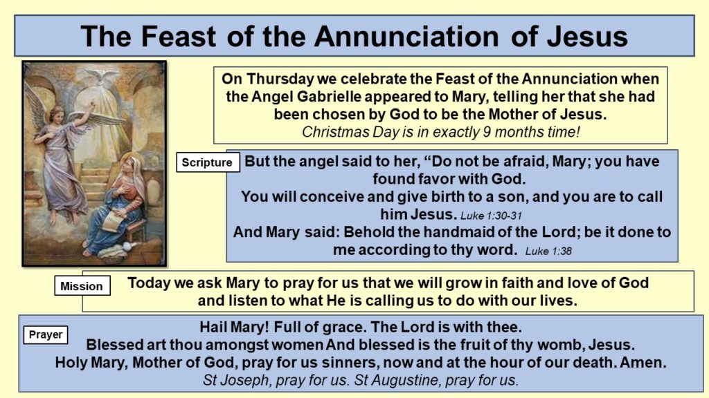 The Feast of the Annunciation of Jesus